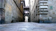 Empty street in the Gothic quarter of Barcelona, dolly video