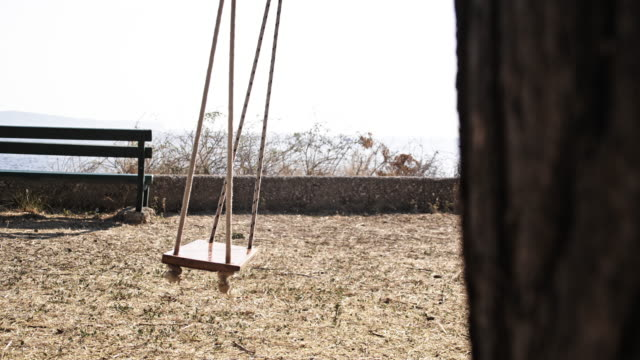 SLO MO Empty swing on the coast video