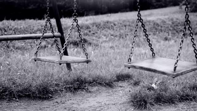 Empty swing swaying video