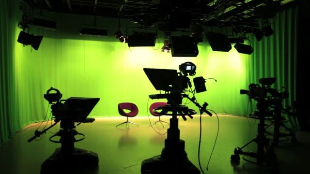 Empty TV studio lights switching off video