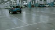 Empty underground parking lot video