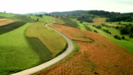 AERIAL Endless Country Road Between Fields video