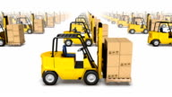 Endless forklifts with boxes front view loop video
