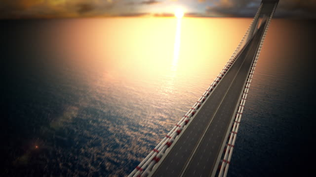 Endless suspension bridge over the water. Loopable CG. video