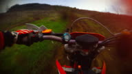 Enduro motorbike riding point of view video