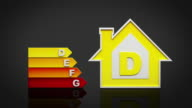 Energy efficiency rating chart. Black background. video