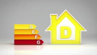 Energy efficiency rating chart. White background. video