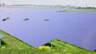 Energy solar panels on green fields video
