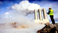 Engineer by Geothermal Chimneys Pumping Steam video