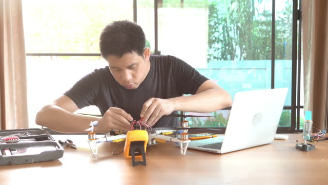 Engineer developing electronic Drone video
