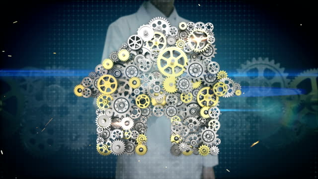 Engineer, doctor touching screen, big gears gathered house, residence shape animation. video