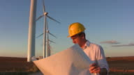Engineer looks at plans windmills background video