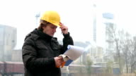 Engineer with Hard Helmet and Clipboard video