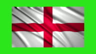 England flag waving,loopable on green screen video
