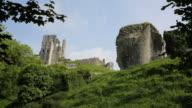 English Corfe Castle Dorset England uk side view of ruins video