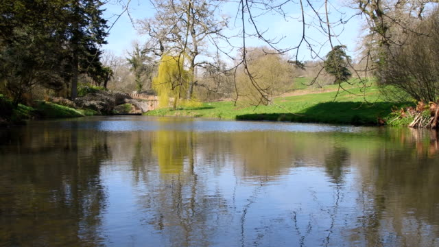 English country river and lake at spring time video