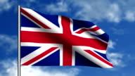 English flag waving on blue sky video