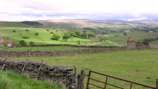 English northern upland farm moorland video
