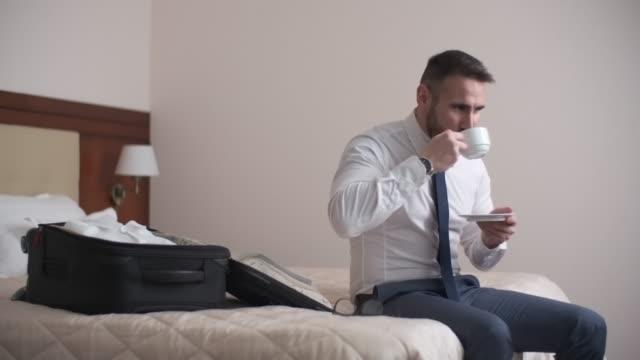 Enjoying Coffee in Hotel video