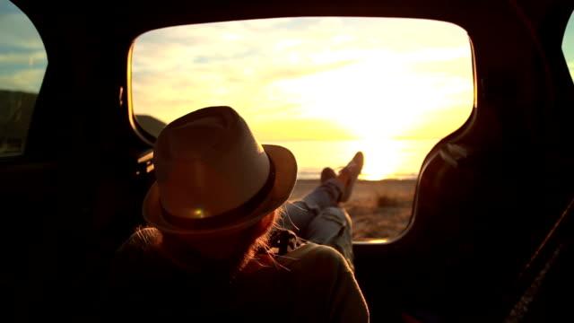 Enjoying in sunset in my car video