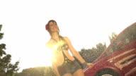 SLOW MOTION: Enjoying the summer rain video