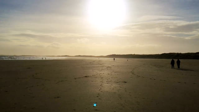 Enormous Beach stretches, couples stroll, shadows cast by setting sun video