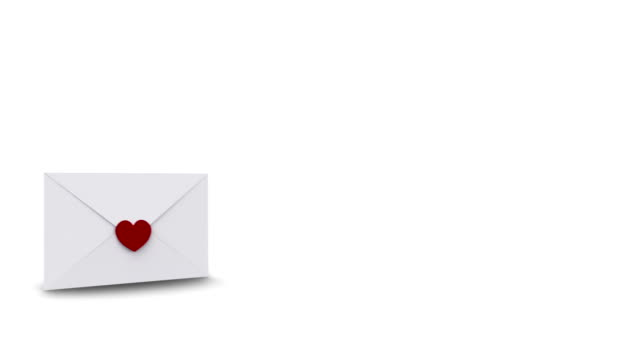 Envelope opening to reveal copy space with love hearts video