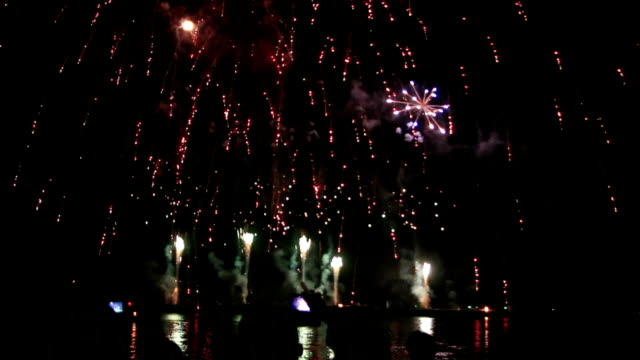epic fireworks from boats on sea video