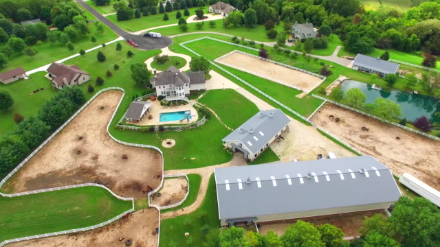 Equestrian ranch, mansion with horse barns,pens,pool, aerial flyover video
