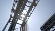 equipment and architectures in modern refinery factory with sunbeam video