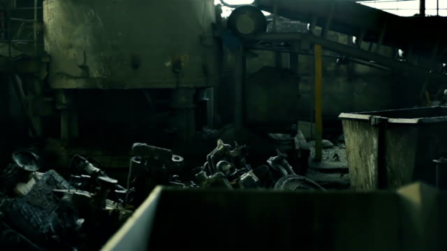 Equipment at old abandoned foundry. Background video
