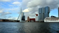 Erasmus Bridge with Rotterdam skyline. video