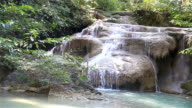 HD: Erawan waterfall flowing down the mountain through the rocks. video