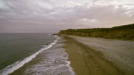 Eroded cliff at Montauk Point, Long Island, New York State, USA. Aerial footage. video