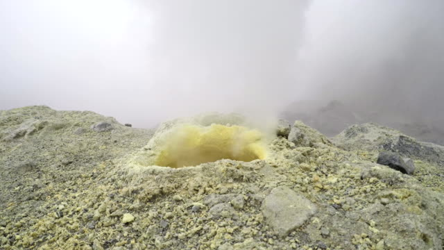 Eruption of gas and steam from sulfur fumarole in crater of active volcano video