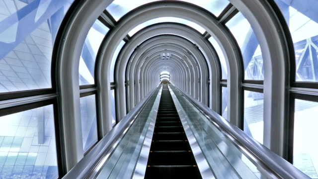escalator in modern building video