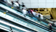 escalator  with blur people video