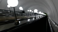 escalator with lamps. downward movement video