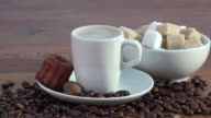espresso coffee, sugar and small cake video