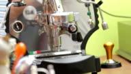 Espresso machine pouring two coffees video