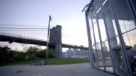 Establishing dolly shot of New York city sunset. video