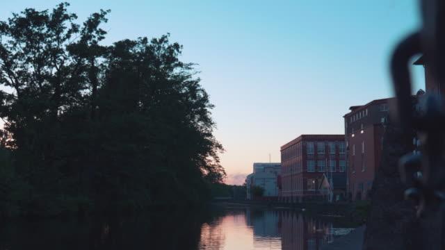 Establishing Evening shot of River in Gothenburg video