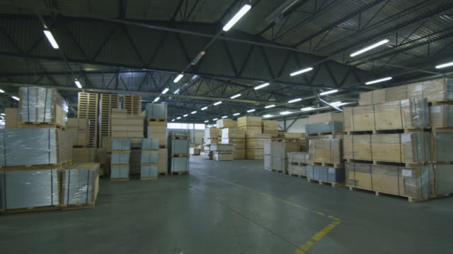 Establishing Shot of a Warehouse with Hardwood video