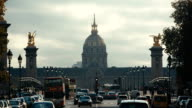 Paris, France - November 11, 2014: Establishing shot of  Hotel des invalides and  bridge Alexandre 3 in Paris, France video
