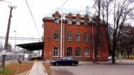 Establishing shot of old railway station video