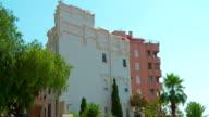 Establishing shot of typical spanish apartment building, Tarragona city, Spain video