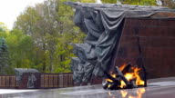 'Eternal flame' at the memorial 'Partisan glade' video