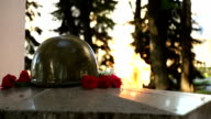 Eternal flame on the monument to unknown soldier video