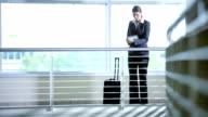 Ethnic businesswoman using tablet video