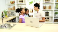 Ethnic Businesswoman Working Home Young Daughters video